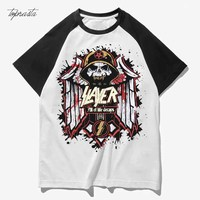 Slayer Heavy Metal Rock Army Skull Print Washed Cotton Men Women Size Tee T Shirts
