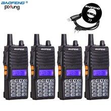 4pcs Baofeng UV-82(II) 8W/4W/1W Walkie Talkie Dual Band 136-174/400-520MHz True 8W High Power Two-Way Radio+1 Programming Cable