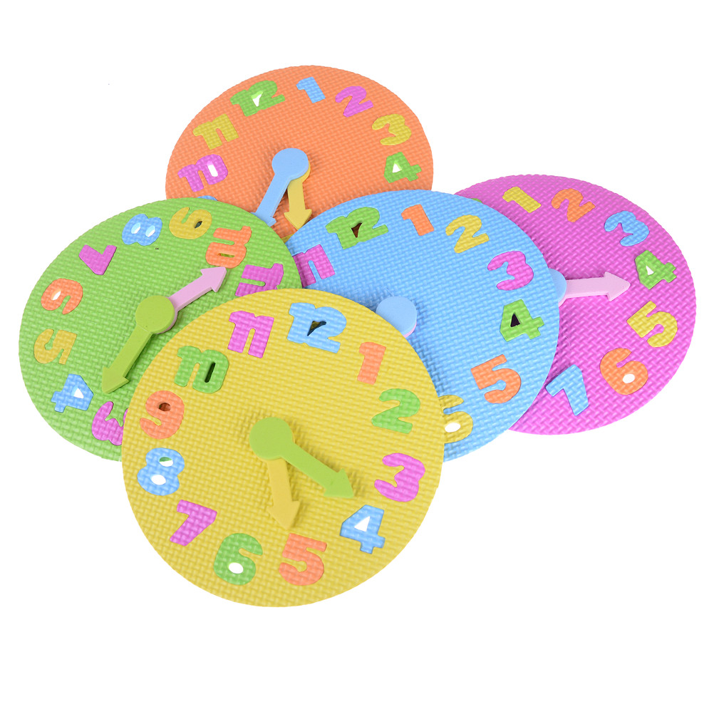 Fun Math Game for Children Baby Toy Gifts 3-6 years old Diameter: 19CM Kids DIY Eva Clock Learning Education Toys