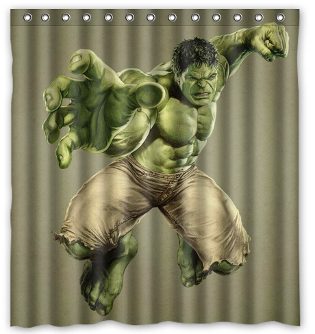 Custom Cool Hulk Printed Polyester Shower Curtain Bathroom Decoration 66 Inch By 72