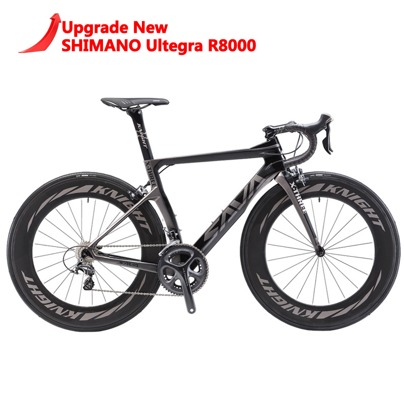 SAVA 700C Vélo De Route T800 Carbone vélo de Route Course de vélo de route Vélo SHIMANO Ultegra R8000 22 Vitesse Bicicleta 50mm 25C Pneu