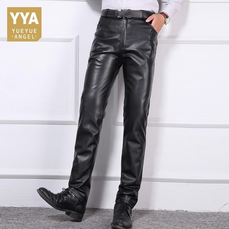 Большие размеры 40 мужские деловые повседневные брюки из натуральной кожи, тонкие высококачественные штаны на молнии со средней талией, дли