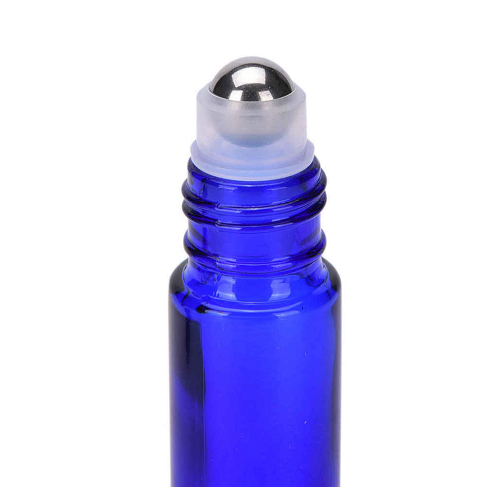 6 ピース/セット新詰め替えボトル 10 ミリリットルのガラスロールボトルアロマエッセンシャルオイルローラーボトル金属ボール起毛キャップ