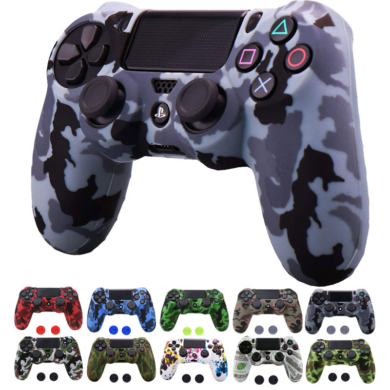 PS4/PS4 SLIM /PS4 PRO Camouflage Anti-Slip Customized Silicone Case Cover Skin with 2xThumb Grip Cap for Dualshock 4 Controller наматрацник шерсть овечья полиэстер 120х200 см
