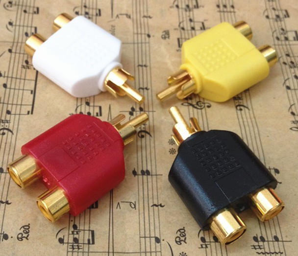 50 pcs Gold Plated RCA Adapter Audio Y Splitter Plug 1 Male to 2 Female imc hot 5pcs rca av audio y splitter 1 male to 2 female plug adapter new