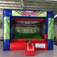 Free home delivery! Outdoor inflatable baseball shooting cage game inflatable batting cage game, cheap inflatable carnival game