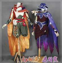 The Popular Game LOL Cosplay Costume Xayah and Rakan Clothes Full Sets Free Shipping A
