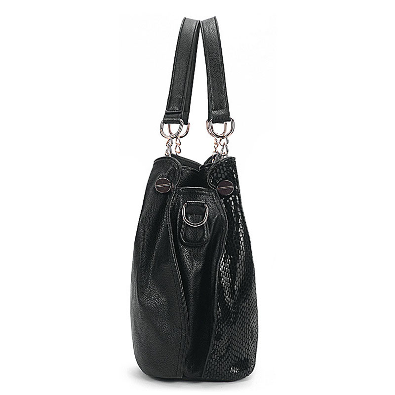 Hot Women Leather Serpentine Handbags High Quality Shoulder Bag Snake Embossed Bags Luxury Tote Shopping Bag Bolsos Mujer XA356C