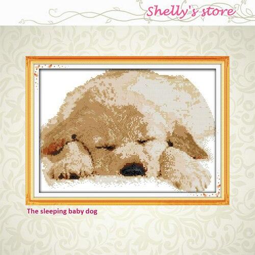 Спящего ребенка собака декор живопись Счетный или штамп 14ct 11ct вышивки крестом вышивать наборы набор для шитья Лидер продаж