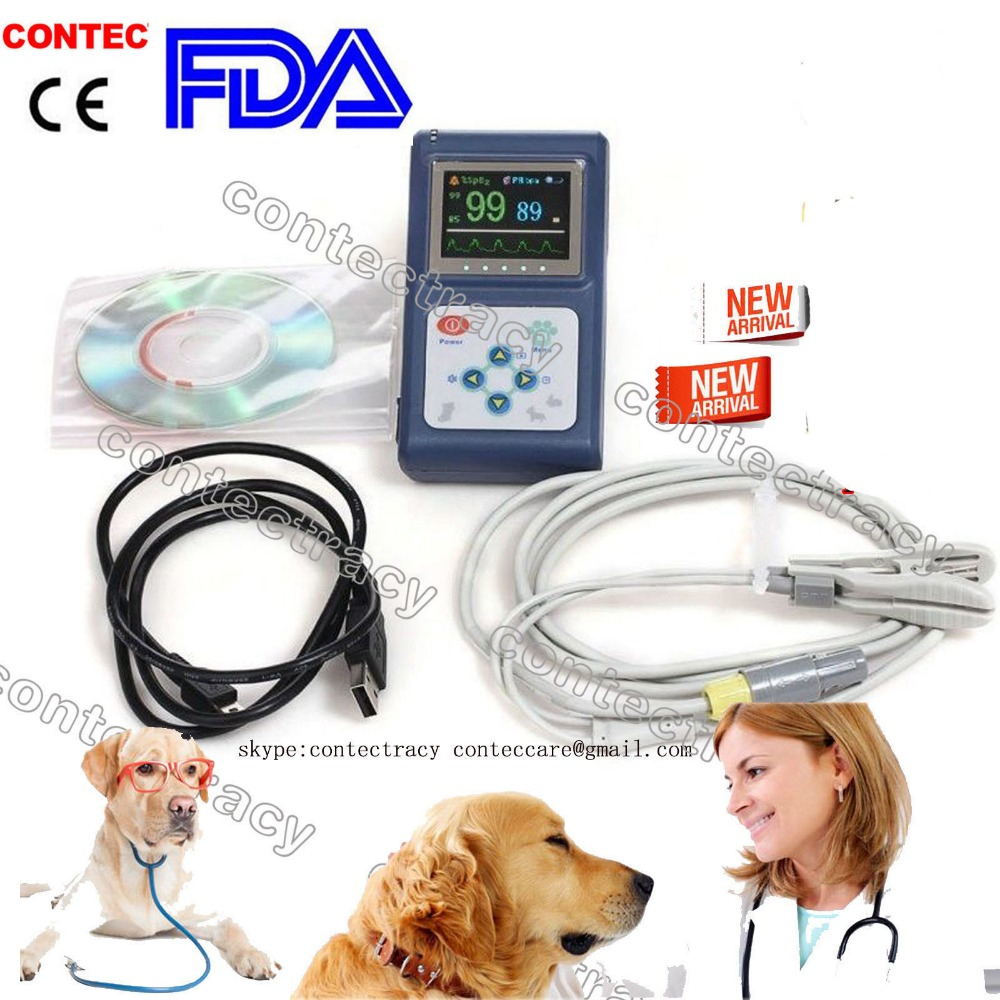 Contec OLED Veterinary CMS60D Hand-held Pulse Oximeter With Vet Probe+ software