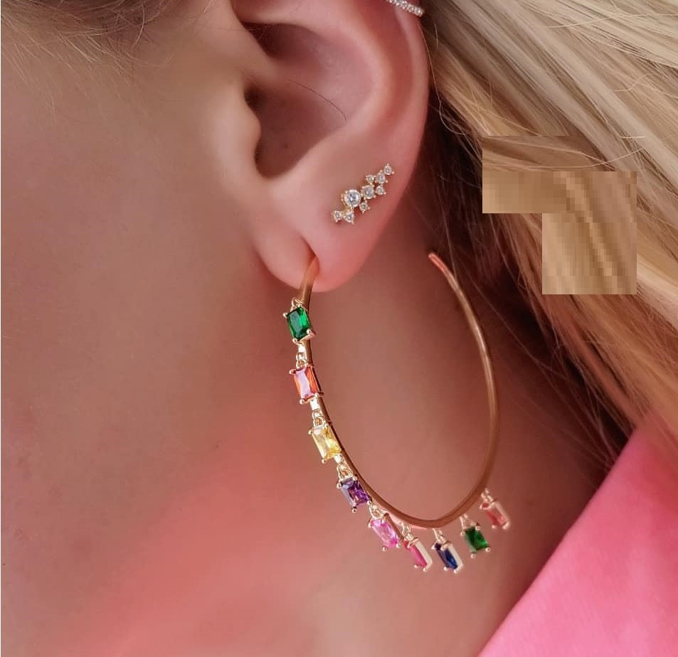 48-50mm Circle Hoop gold filled with rainbow green cz baguette cz charm Bohemia Bohe Gorgeous women earring