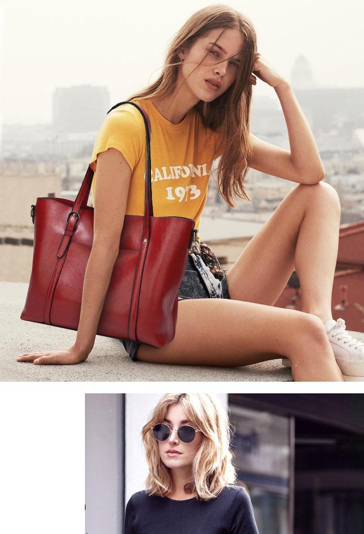 Genuine leather Women Tote handbags 14