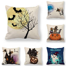 45cm*45cm Cushion cover Simple Halloween pattern linen/cotton pillow case sofa and Home decorative pillow cover chic quality polar bear pattern cotton and linen pillow case(without pillow inner)