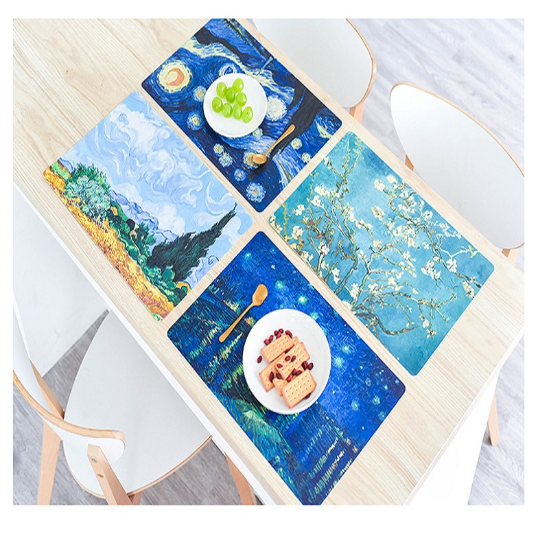 Creative Pattern Placemat Coaster Tableware Mat PVC Heat-Insulated Table Mat Pot Dishes Bowl Cup Pad Kitchen Bar Accessory Decor