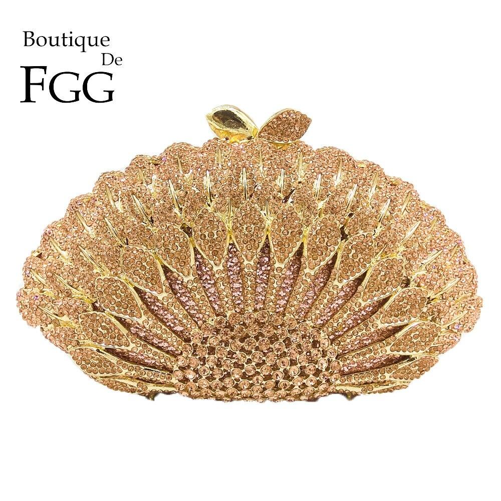 Boutique De FGG Élégant Champagne Cristal Femmes Paon Embrayage Sac de Soirée En Métal Minaudière De Mariée Sac À Main De Soirée De Mariage Sac À Main