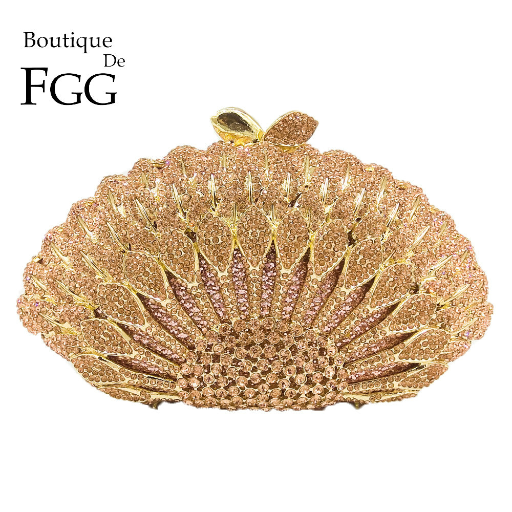 Boutique De FGG Elegante Champagne Di Cristallo Delle Donne Del Pavone di Sera Della Frizione del Sacchetto Del Metallo Minaudiere Borsa Da Sposa di Cerimonia Nuziale Del Partito Della Borsa