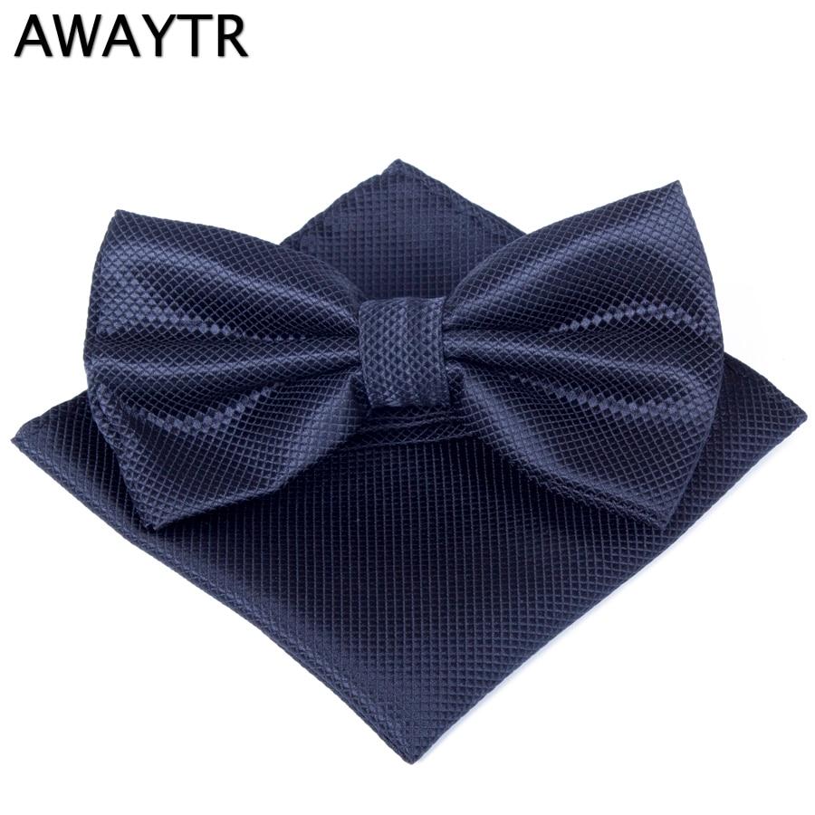 AWAYTR Men Plaid Bowtie Pocket Square Handkerchief Sets Business Pocket Square Towel Bow Tie Set Foe Men Wedding Party