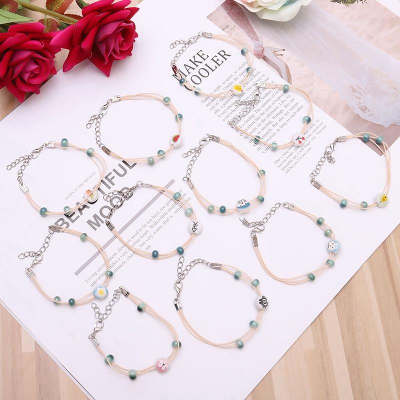 2018 Handmade Ceramic Cherry Watermelon Cat Flower Animal Ethnic Rope Bracelet For Women Fashion Jewelry