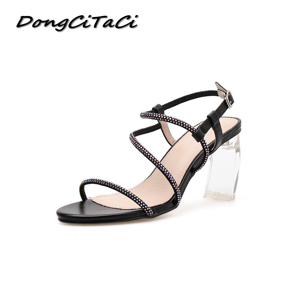 DongCiTaCi Women High Heels Sandals Clear Shoes Woman Crystal Transparent Heel Sexy Strap Buckle Party Wedding Clear SandalsDongCiTaCi Women High Heels Sandals Clear Shoes Woman Crystal Transparent Heel Sexy Strap Buckle Party Wedding Clear Sandals