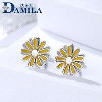 Модные Желтые ромашки серьги серебро 925 цветок серьги стержня для женщин S925 серебро Аксессуары и украшения