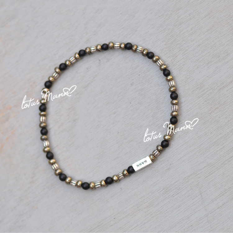 Lotus mann 925 sterling silver pyrite small single-circle series male bracelet