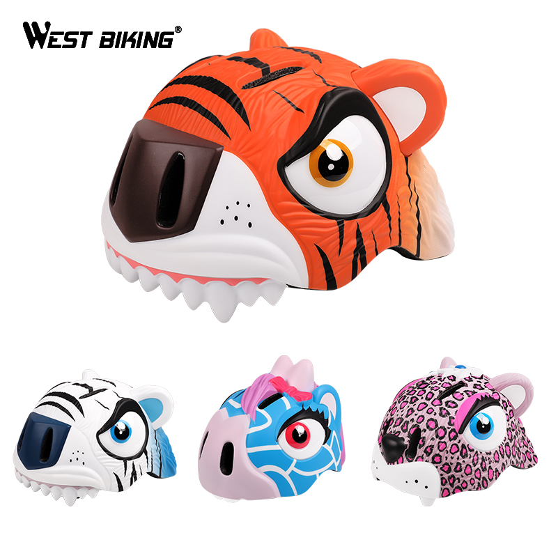 WEST BIKING Kids Bike Helmet Ultralight Adjustable 3D Cartoon Animal Safe 3 8 Years Cycling Casco