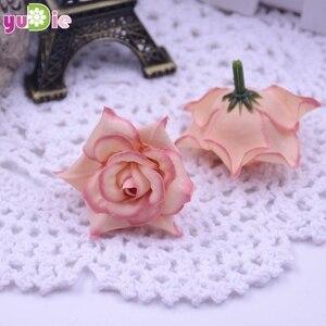 Image 1 - 10pcs Roses Artificial flowers Silk Head Wedding Decoration DIY Handmade jewelry brooch headdress party Scrapbooking Home Craft