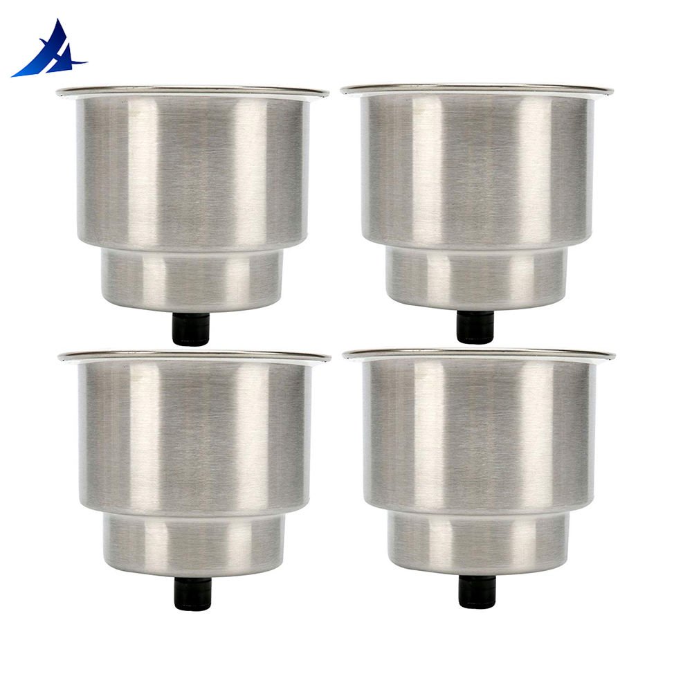 Boat Accessories Marine 4pcs Stainless Steel Cup Drink Holder with Drain for Marine Boat RV Camper image