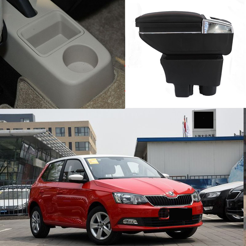 Car armrest box central Store box with USB for skoda fabia 5J fabia MG 2007 2008 2009 2010 2011 2012 2013 2014 2015 2016 2017