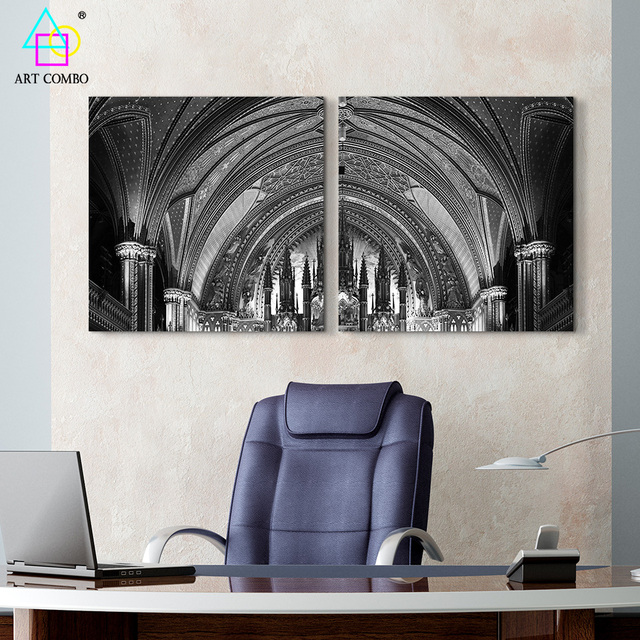 2 Panels Modern Europe Painting Interior Architecture And Street Signs Picture Home Wall Decor No
