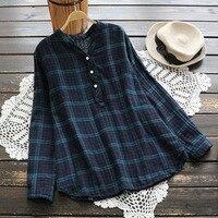 Classic Plaid Woman Shirts V Neck Autumn Tops Blusas 2017 Casual Cotton Long Sleeved Mori Girls