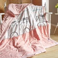 2018 Del Fumetto Gatti Rosa Blu Trapunta per I Bambini Delle Ragazze di Estate Cuciture Tiro Coperta sul Divano Letto 200x230 cm Tessili Per La casa