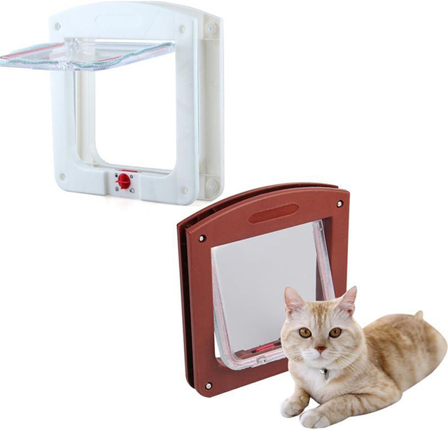 White Frame 4 Way Locking Lockable Magnetic Pet Cat Small Dog Flap