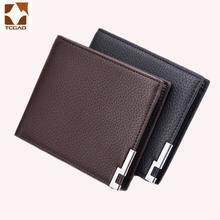 bec5d6331 Cartera de hombre de cuero fina pequeña cartera de hombre Mini tarjetero de  cuero corto carteira