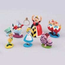 6 шт. Оригинальные мини Алиса на Стенде Высокая ПВХ Фигурку Игрушки для девочек детские куклы Алиса В Стране Чудес Торт Топпер Подарок На День Рождения