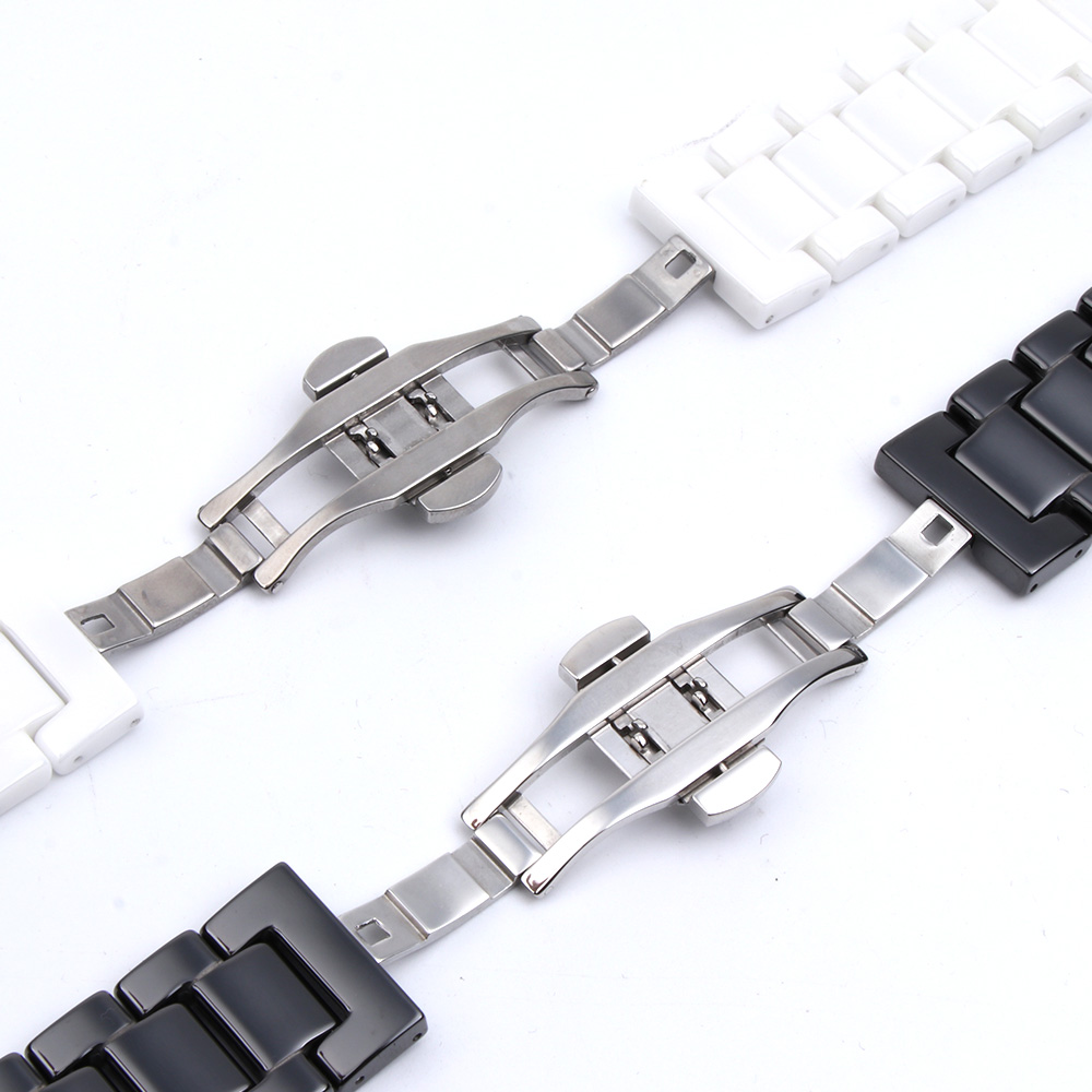 Image 3 - 12/14/16/18/20/22mm Shine for Samsung Gear S2/S3 Watchband Quality Ceramic Watch Strap Luxury Metal Bracelet for Huawei Watch 2-in Watchbands from Watches