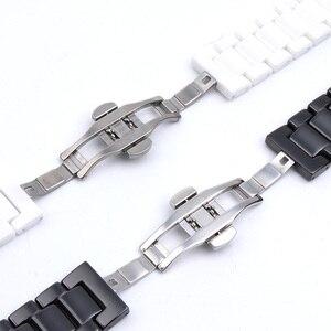 Image 3 - 12/14/16/18/20/22mm Shine voor Samsung Gear S2/S3 Horlogeband kwaliteit Keramische Horloge Band Luxe Metalen Armband voor Huawei Horloge 2