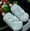 A pair of  100% Chinese A Grade Natural Jade  Dragon Phoenix Pendant