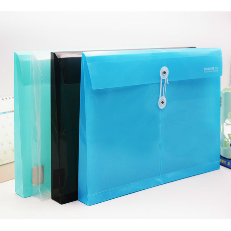 50PC Transparent Plastic File Folder Office Stationery Supply 33*25cm Fashion A4 Office File Bag Wound Waterproof Folder Bag