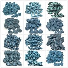 Синие круглые листья капли воды в форме сердца акриловые Винтажные бусины для изготовления ювелирных изделий DIY браслет ожерелье аксессуары