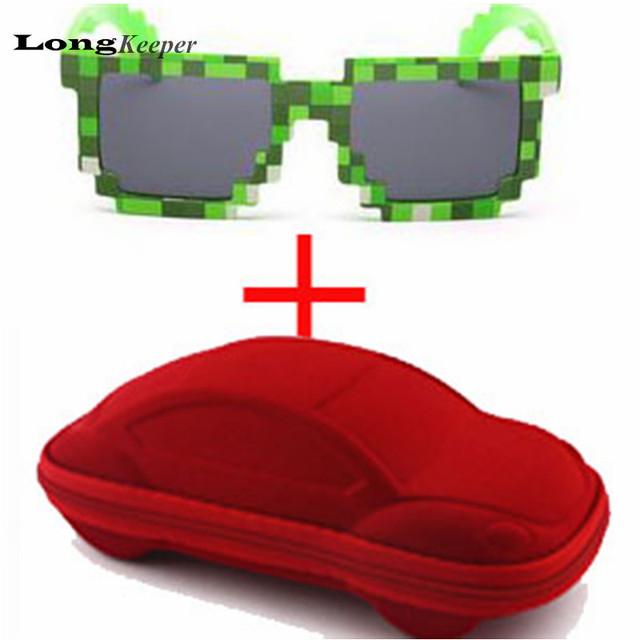LongKeeper Fashion Kids Sunglasses Square Mosaic Sun Glasses Children Pixel Sunglasses Trendy Boys Girls Glasses With Case KM01