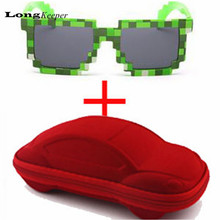 LongKeeper Fashion Kids Sunglasses Square Mosaic Sun Glasses Children Pixel Sunglasses Trendy