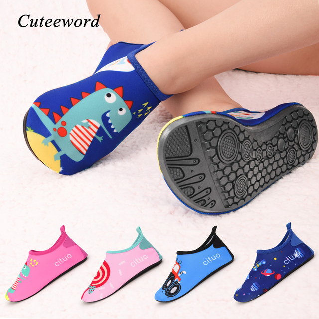 Children Beach Shoes Water Socks Boys and Girls Home Shoes Outdoor Swimming Diving Snorkeling Shoes Cute Cartoon Kids Slippers