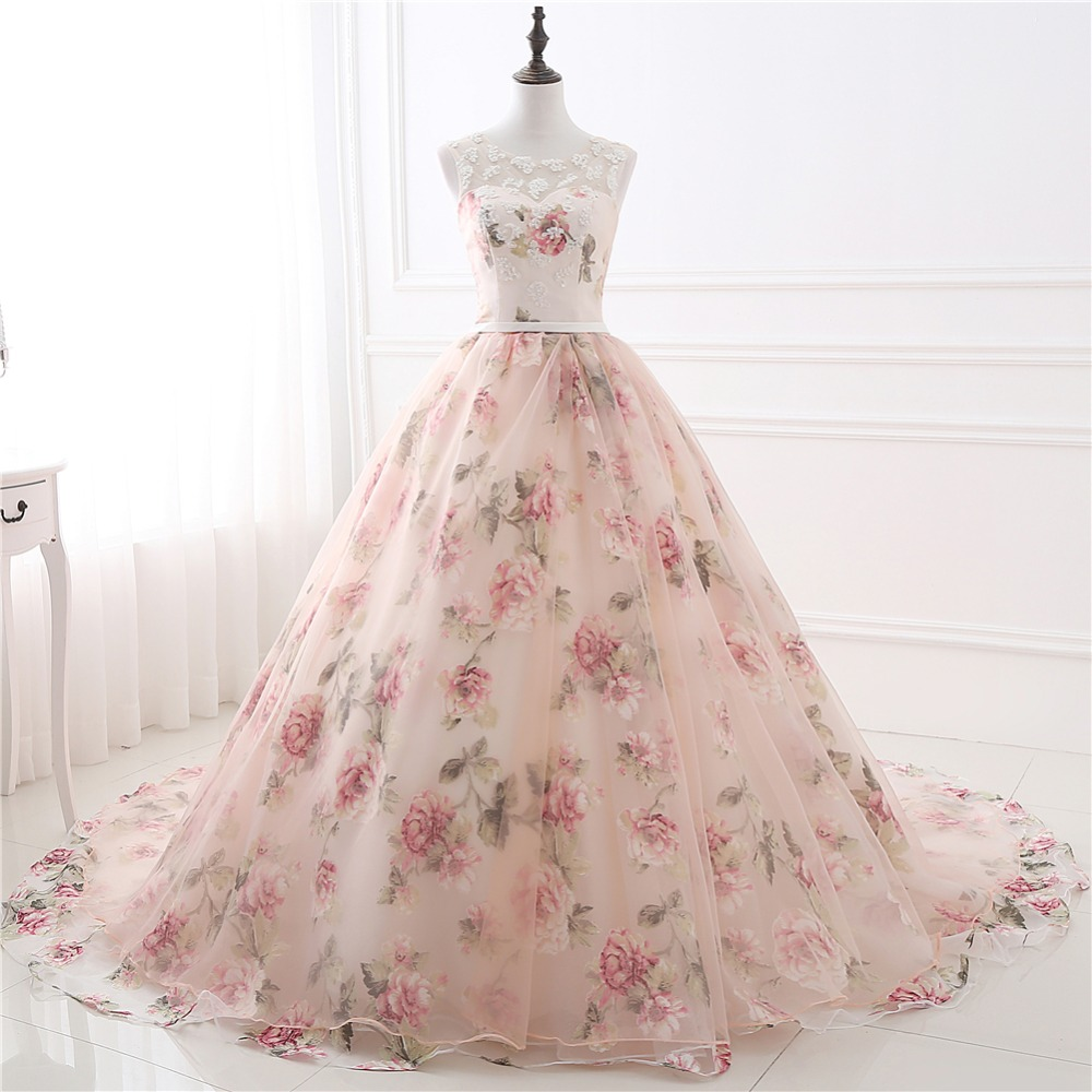 2019 Hot Sale Real Photo Long Prom Dresses With Lace Applique Printed Floral Formal Evening Party