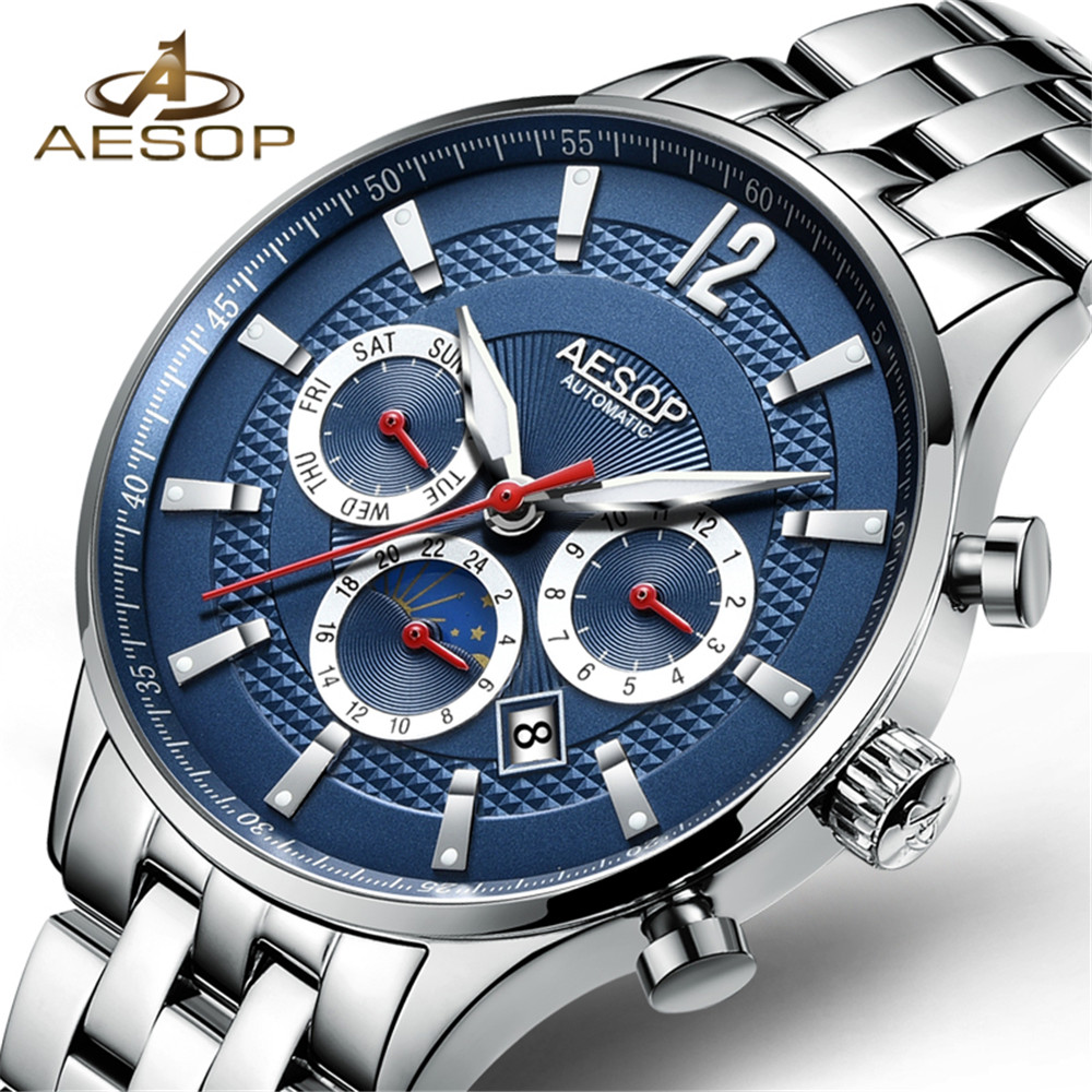 AESOP Famous Brand Watch 2018 New Luxury Men Luminous Automatic Mechanical Watches Silver Case Blue Dial Stainless Steel Strap sinobi men fashion formal quartz wrist watch stainless steel strap waterproof silver case round dial luminous roman number