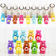 Great 9pcs lot Care Bears 5cm original anime keychain keyring pendant PVC figure Toy