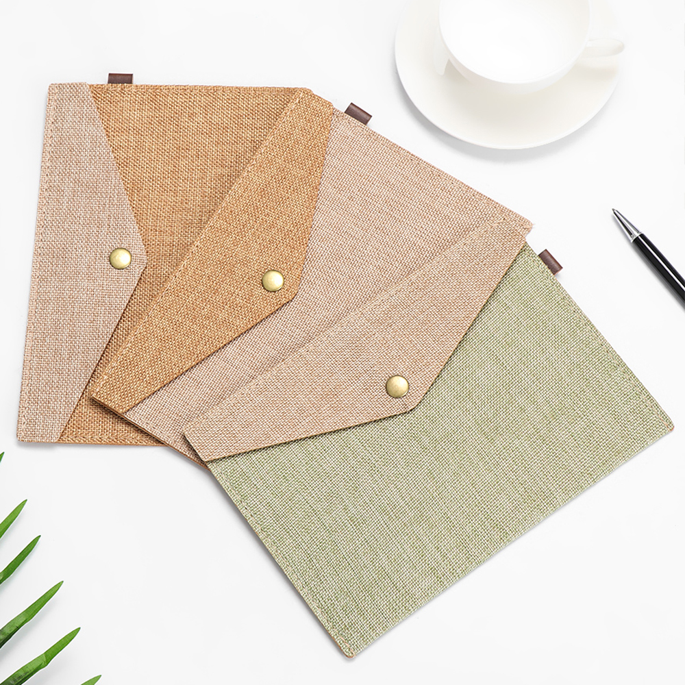 1PC A4/A5 Cute Elegant Big Capacity Document Bag Imitation Linen Canvas Felt File Bag Briefcase File Folders Office Supply