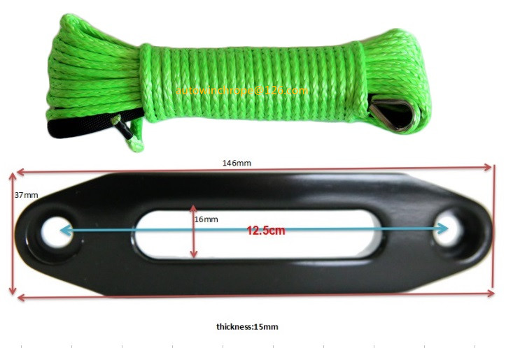 5mm*15m Green Synthetic Winch Rope add 4000lbs Hawse Fairlead,ATV Winch Cable,Boat Winch Rope,Plasma Rope
