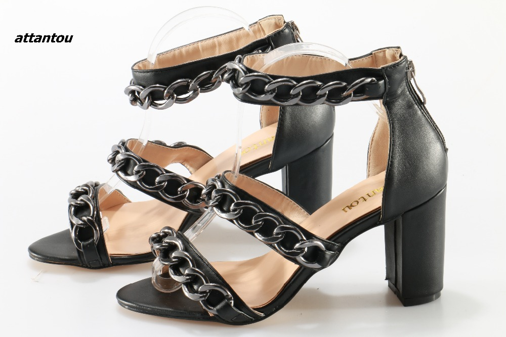 661a45bd210b Block PU Ankle Femme Sandals Women s Chunky Fashion Wrap Gladiator Shoes  High Heel Summer Black Designer ...
