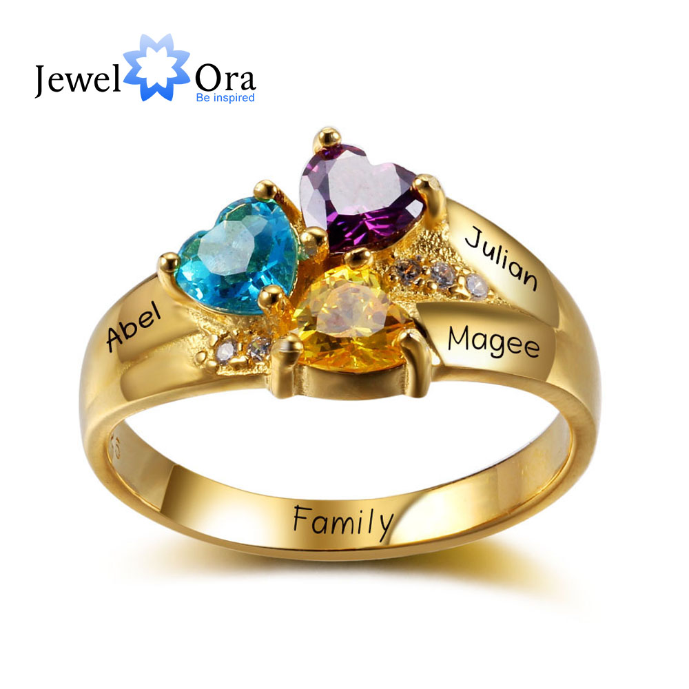 Personalised Rings Engrave Jewelry 3 Heart Birthstones 925 Sterling Silver Love Mother Rings Gift For Mommy (JewelOra RI102344) mommy love